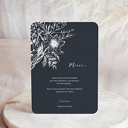 Carte remerciement mariage photo Esquisse Florale