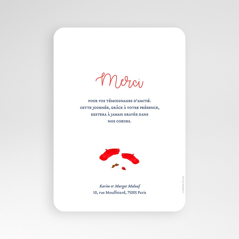 Carte Remerciement Mariage Photo So french pas cher