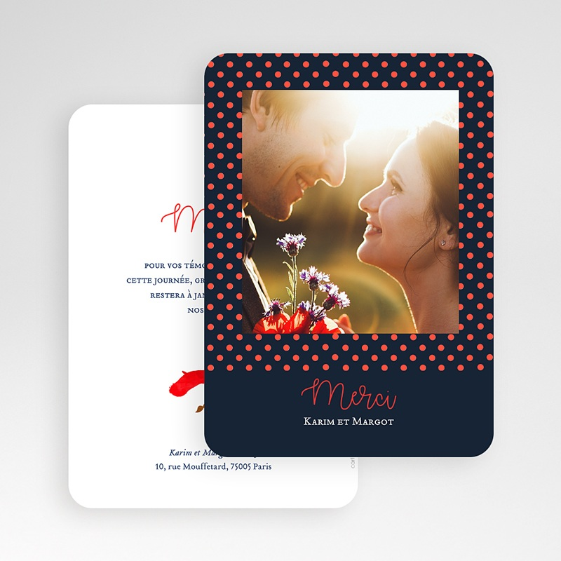 Carte Remerciement Mariage Photo So french gratuit