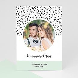 Carte remerciement mariage photo Points noirs et blancs