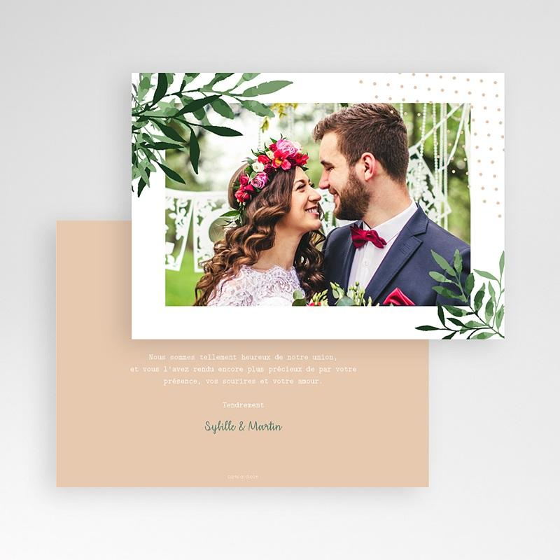 Carte remerciement mariage photo Végétal pas cher