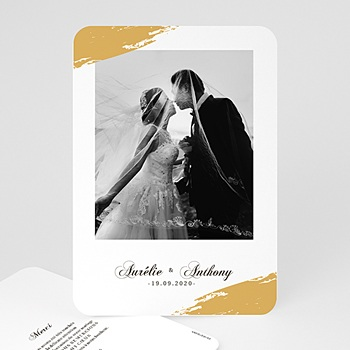 Carte remerciement mariage classique Brush Doré