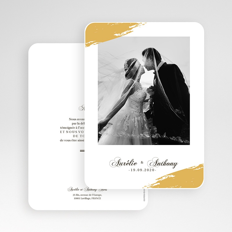 Carte Remerciement Mariage Classique Brush Doré gratuit