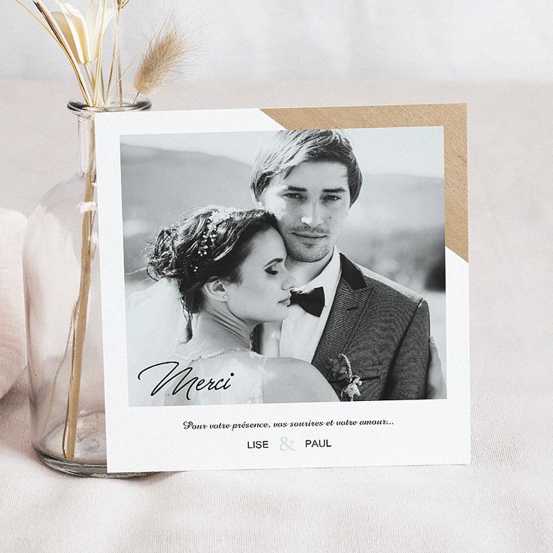 Carte Remerciement Mariage Photo Bois & Pastel