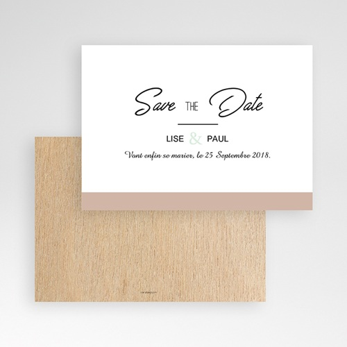 Save The Date Mariage Bois & Pastel pas cher