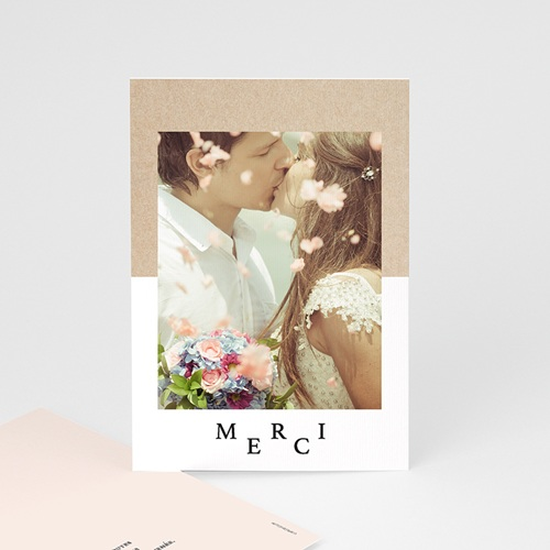 Carte remerciement mariage photo Kraft & Color