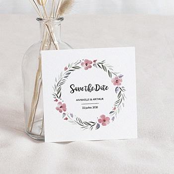 Save the date mariage fleurs romantiques à personnaliser
