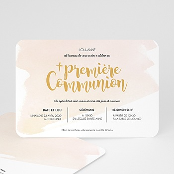 Faire-part Communion Fille - Aquarelle dorée - 0