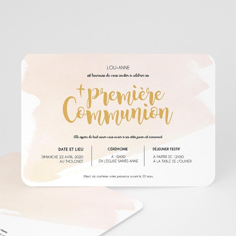 Faire-part Communion Fille - Aquarelle dorée 58786 thumb
