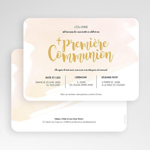 Faire-part Communion Fille - Aquarelle dorée 58788 thumb