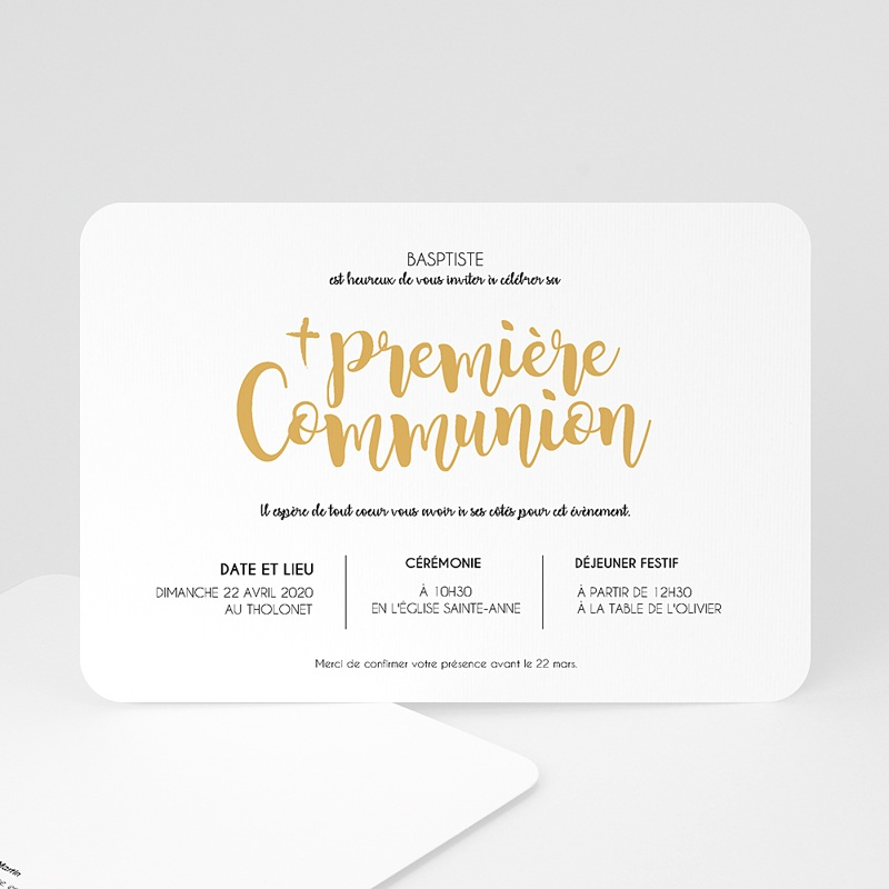 Faire-Part Communion Garçon Aquarelle d'or