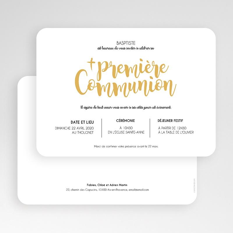 Faire-Part Communion Garçon Aquarelle d'or gratuit