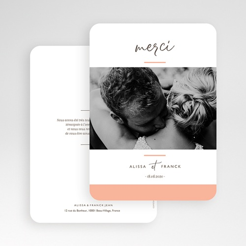 Carte Remerciement Mariage Photo Color Touch gratuit