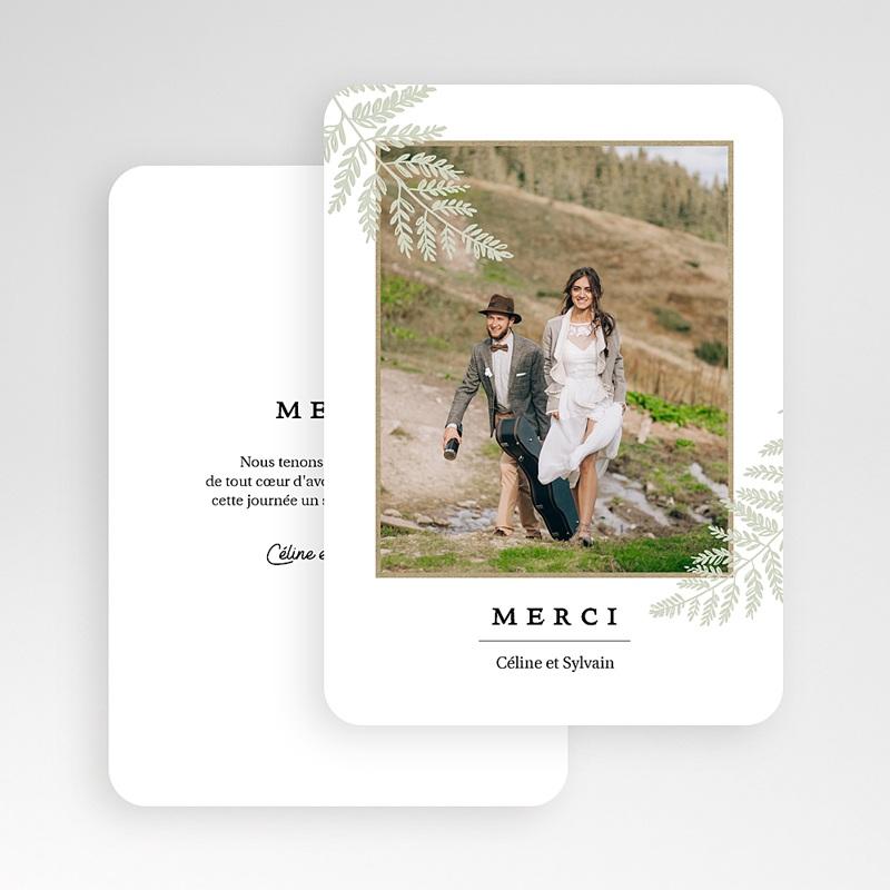 Carte Remerciement Mariage Photo Verdoyant gratuit