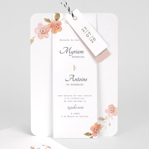 Faire Part Mariage Champêtre Rose Botanique