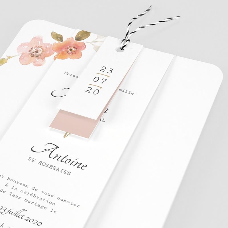 Faire-Part Mariage Champêtre Rose Botanique pas cher