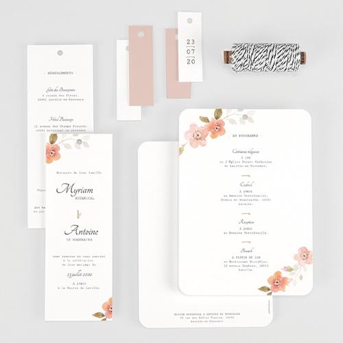 Faire-Part Mariage Champêtre Rose Botanique gratuit