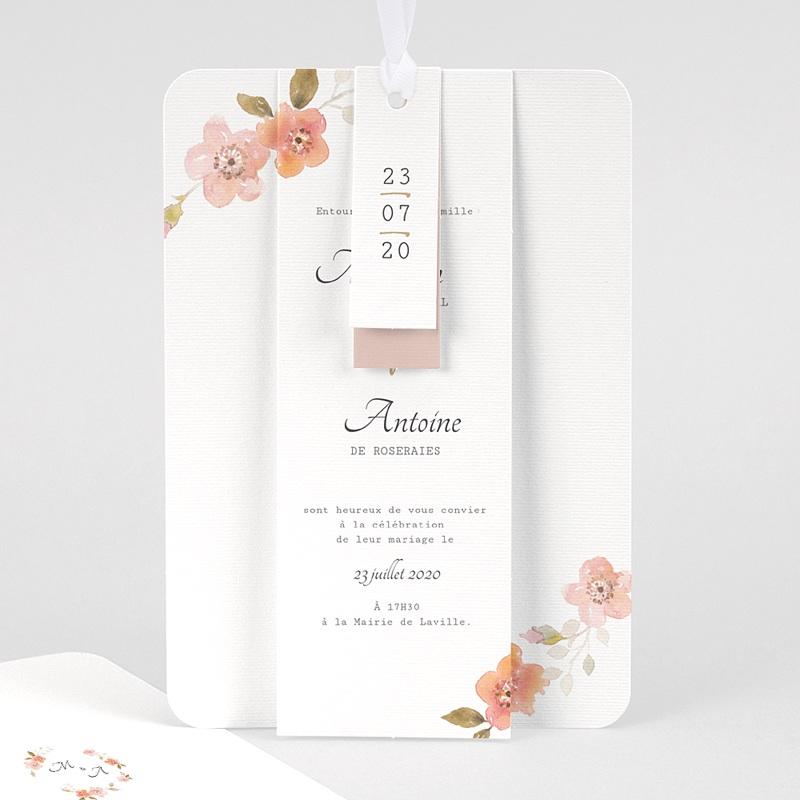 Faire-Part Mariage Champêtre Rose Botanique