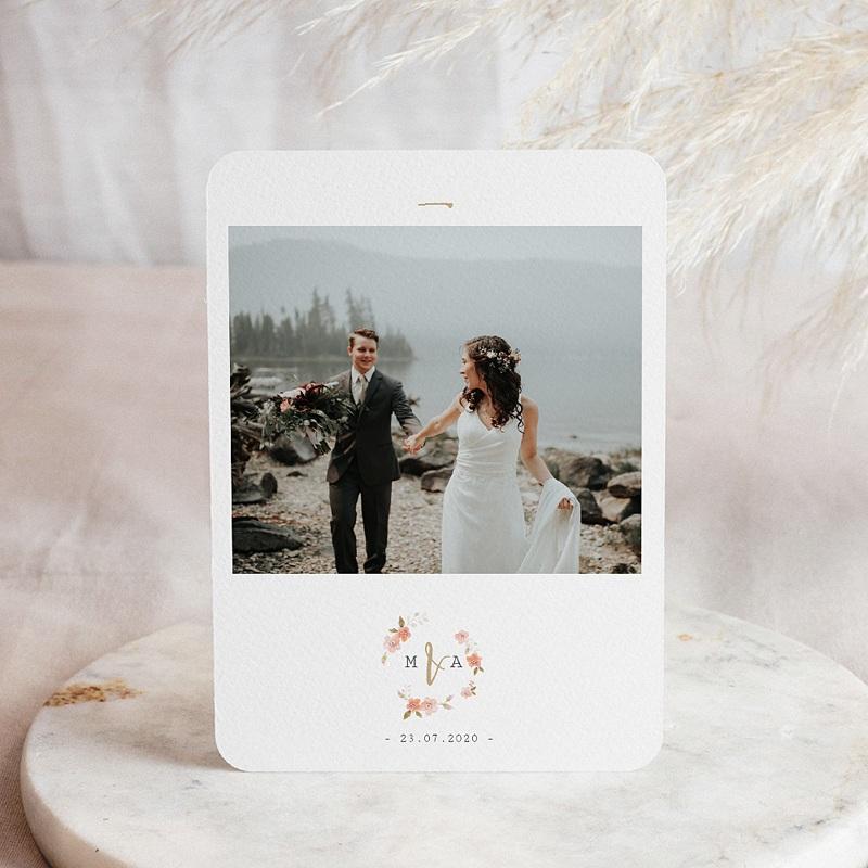Carte remerciement mariage chic Rose Botanique