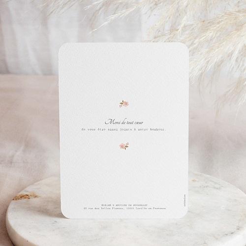 Carte Remerciement Mariage Chic Rose Botanique pas cher