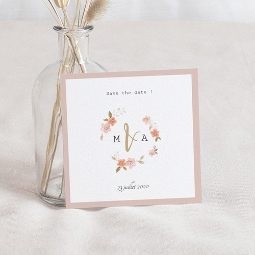 Save The Date Mariage Rose Botanique, 10 x 10