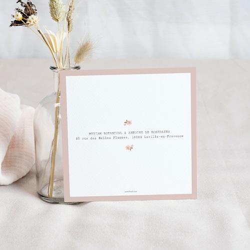 Save The Date Mariage Rose Botanique, 10 x 10 pas cher