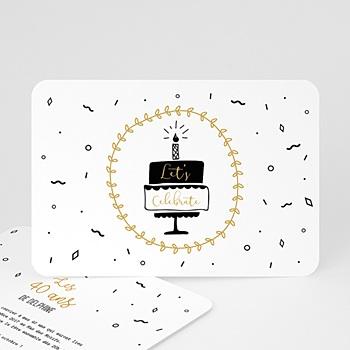 Carte invitation anniversaire 40 ans Gateau et cotillons