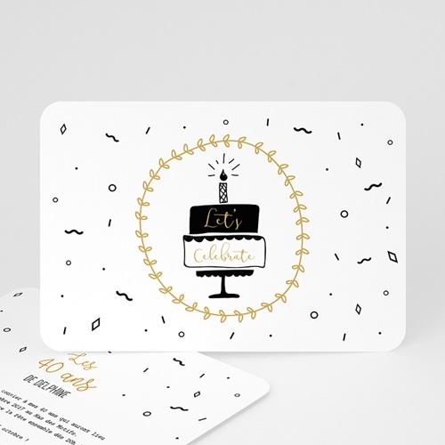 invitation anniversaire 40 ans gateau et cotillons. Black Bedroom Furniture Sets. Home Design Ideas
