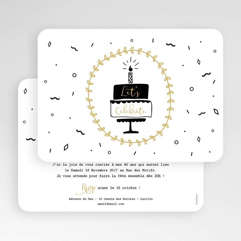 Invitation anniversaire 40 ans - Gateau et cotillons 59131 thumb