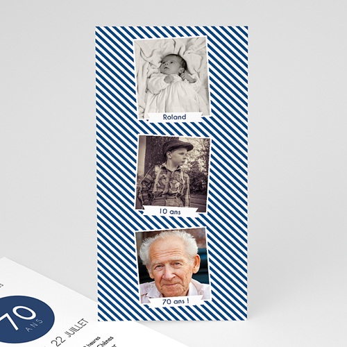Carte invitation anniversaire 70 ans Etapes de vie