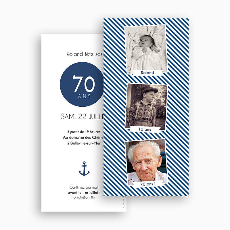 Carte invitation anniversaire 70 ans Etapes de vie gratuit