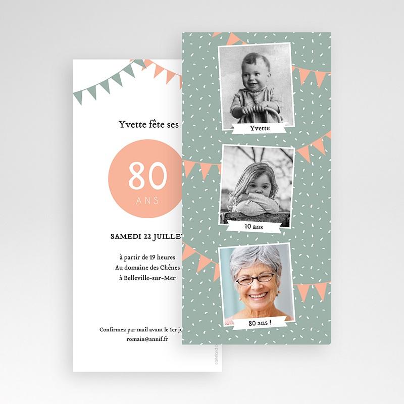Carte invitation anniversaire 80 ans Quatre-vingts ans pas cher