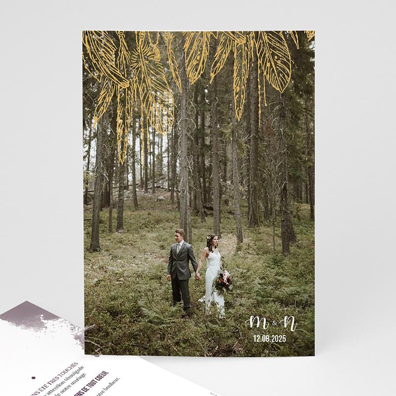 Carte Remerciement Mariage Photo Boho Lie de Vin