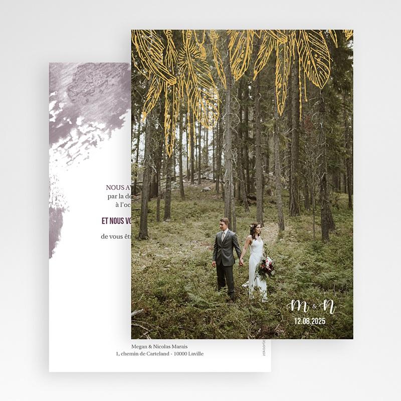 Carte Remerciement Mariage Photo Boho Lie de Vin gratuit