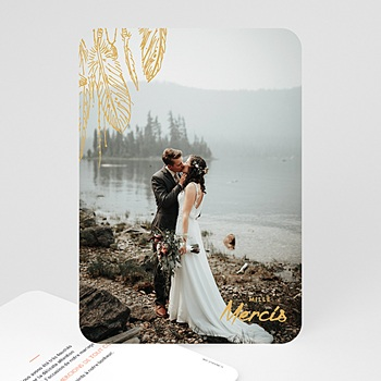 Carte remerciement mariage photo Boho Olive