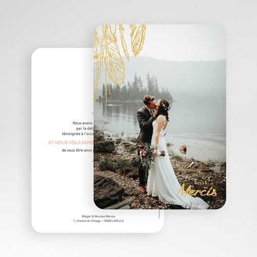 Carte Remerciement Mariage Photo Boho Olive gratuit