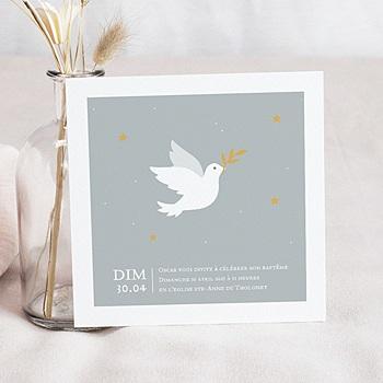 Faire-part Baptême Garçon - Petite colombe - 0