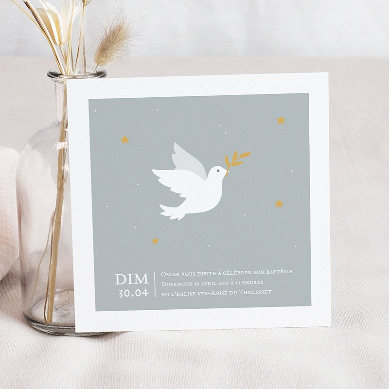 Faire-Part Baptême Garçon Petite colombe