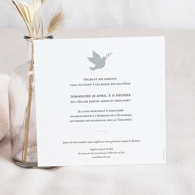 Faire-Part Baptême Garçon Petite colombe pas cher