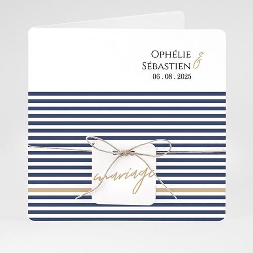 Faire-Part Mariage - Marinière or bleu 59485 thumb