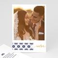 Carte remerciement mariage oriental Bleu Ottoman