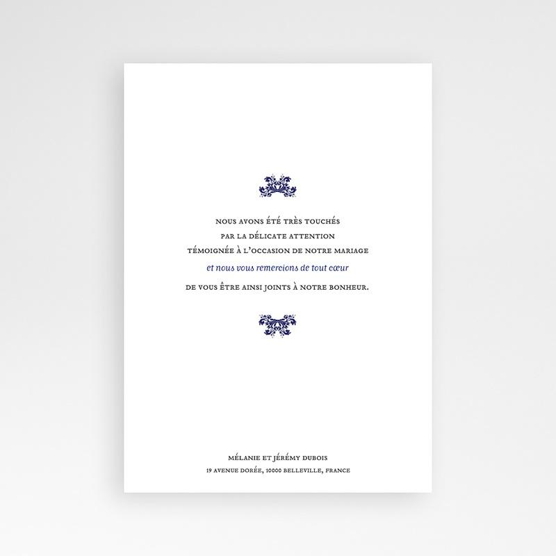 Carte remerciement mariage oriental Bleu Ottoman pas cher