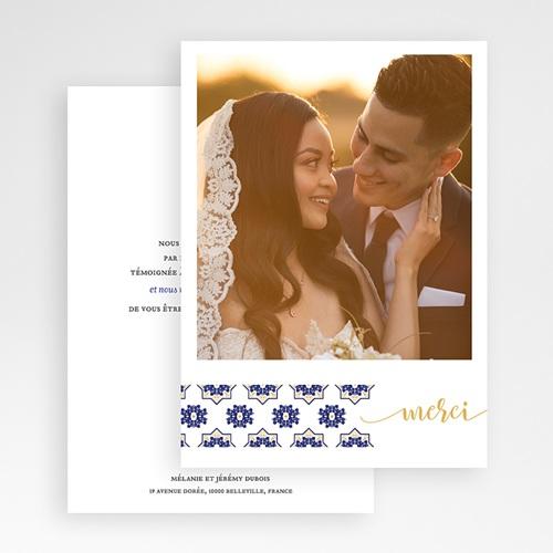 Carte remerciement mariage oriental Bleu Ottoman gratuit