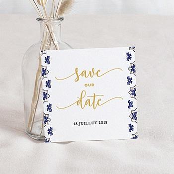 Créer soi même save the date mariage bleu ottoman