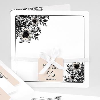 Faire Part mariage vintage - Black Flowers Pastel - 0