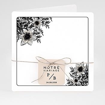 Faire Part mariage vintage - Black Flowers Pastel - 4