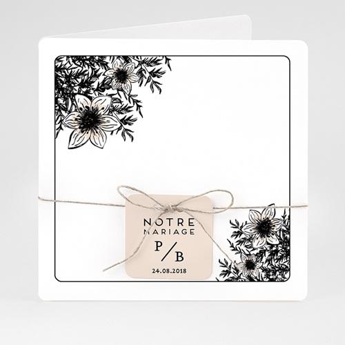 Faire-Part Mariage Black Flowers Pastel