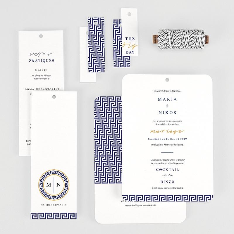Faire-part mariage Bleu Grec gratuit