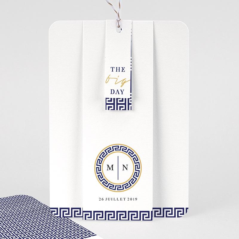 Faire-part mariage Bleu Grec