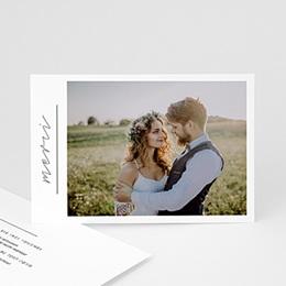 Carte remerciement mariage photo Minimaliste Gris & Blanc
